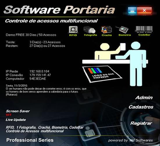 Software controle de acessos foto RFID biometria