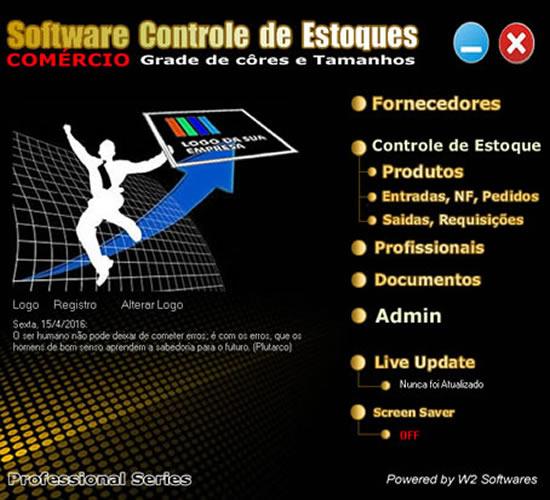 Software controle de estoque almoxarifado com grade de cor e tamanho