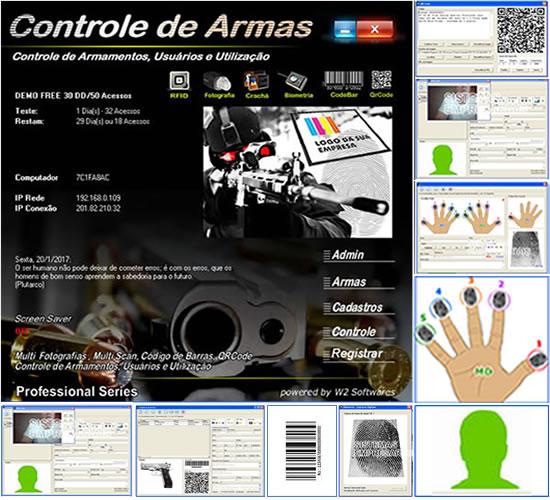 Software controle de armas com codigo de barras QRCode e Biometria
