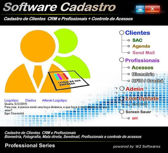 Software cadastro de clientes, profissionais CRM foto e biometria