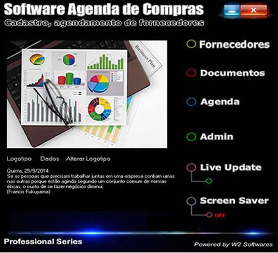 Software agenda de compras gerenciamento de formecedores