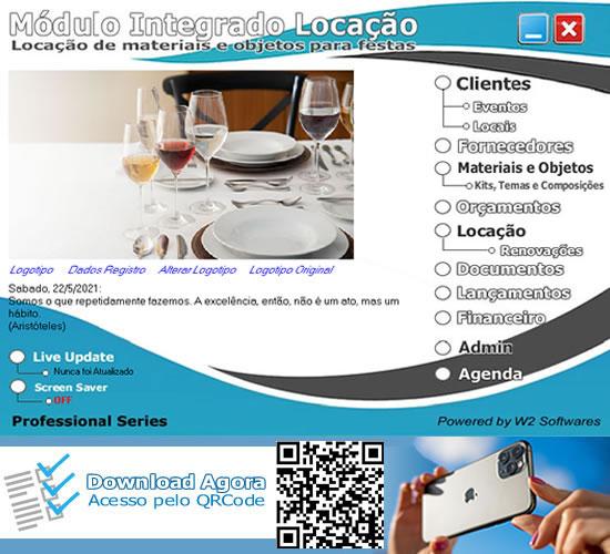 Software locação para festas materiais e objetos Buffet