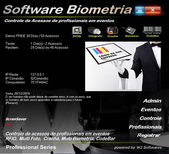 Software controle de acessos e presença foto biometria para profissionais em  eventos