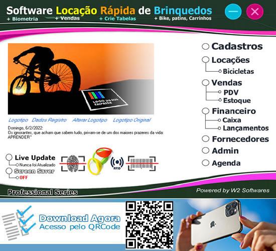 Software Locação Rápida de Bicicletas com PDV Biometria