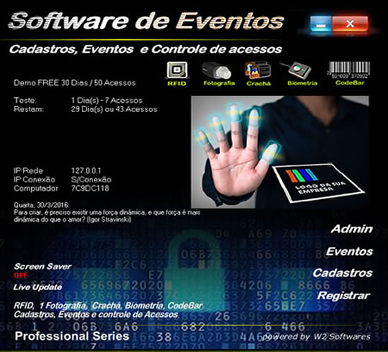 Software para eventos com controla acessos biometria QRCode